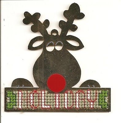 Needleform Gold'n Cross Stitch Rudolph Deer Completed Stitched Ornament Holiday