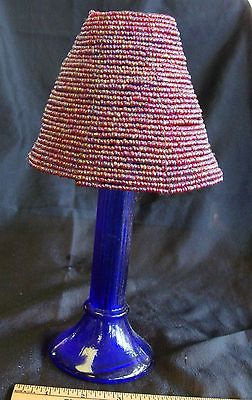 Tall Blue Glass Votive Holder with Redish Beaded Shade