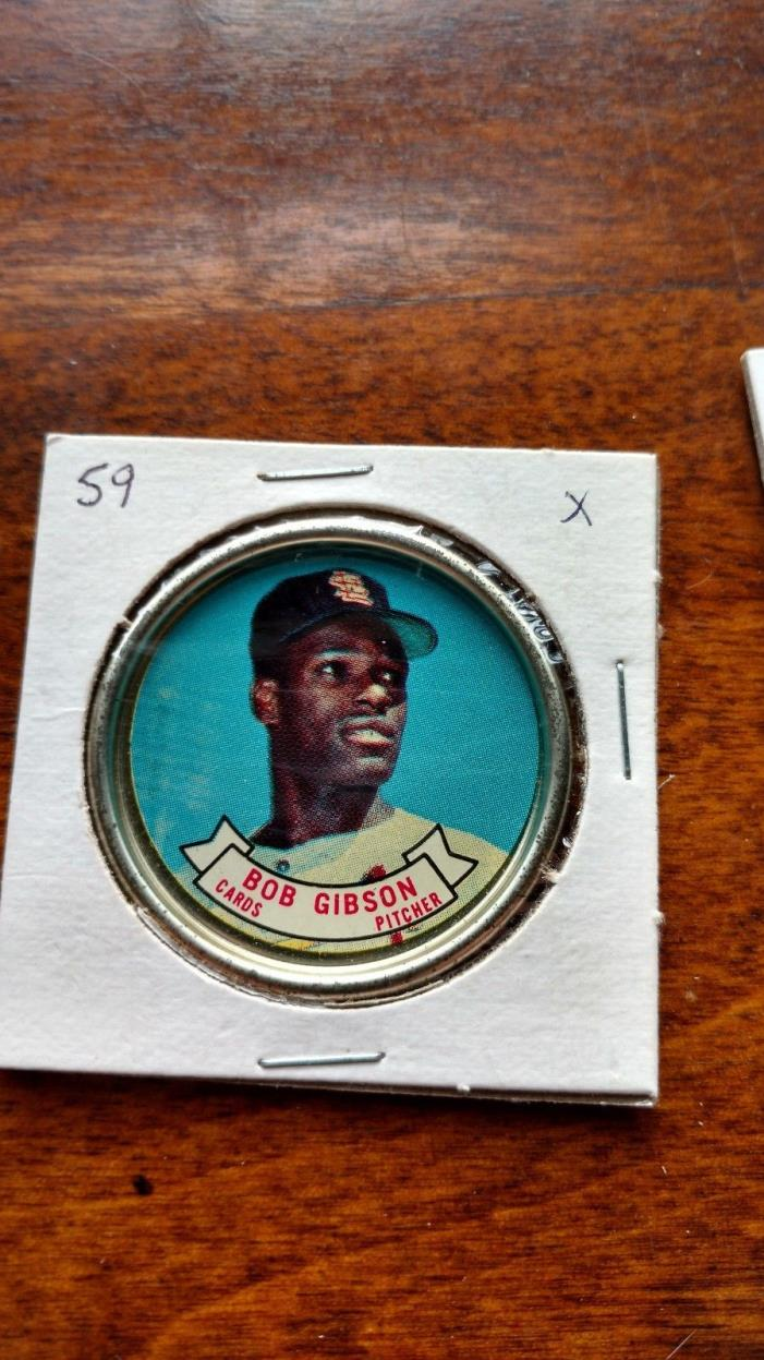1964 toops baseball coin #59  bob gibson  clean front picture