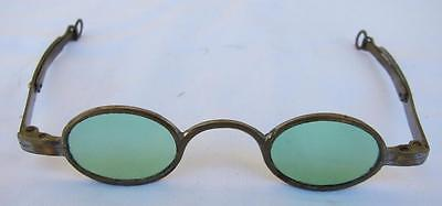 Antique Oval Green Brass Eyeglasses Sun Glasses Victorian Spectacles Civil War l