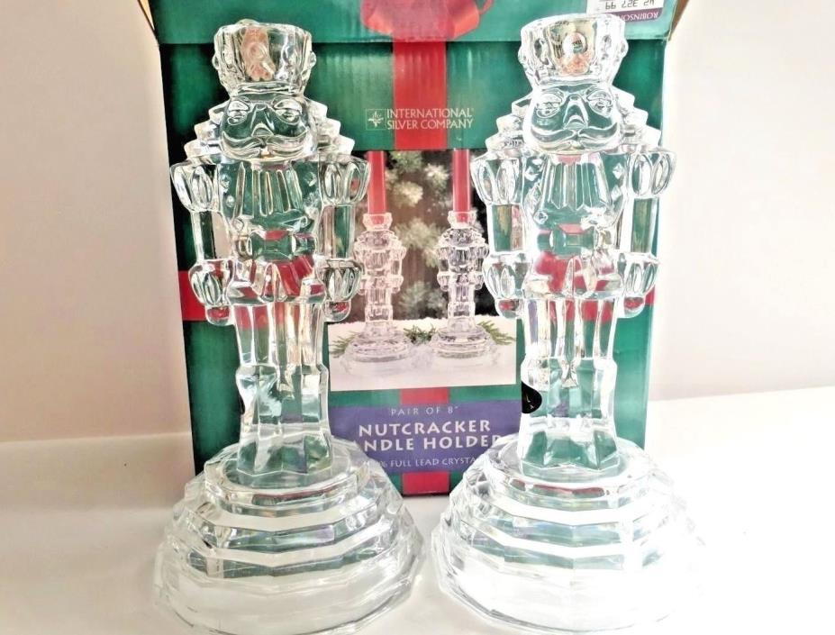 NIB Crystal Candle Holders Nutcracker, set of 2