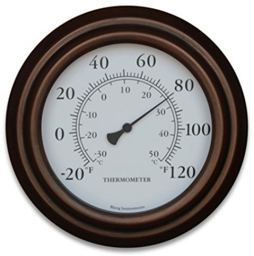 8 Decorative Indoor / Outdoor Patio Wall Thermometer (Bronze)