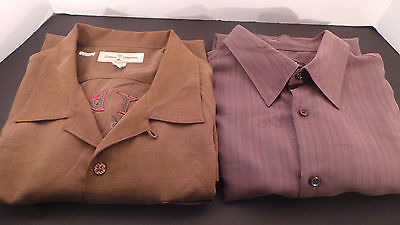LOT of 2 Men's BROWN SHORTSLEEVE SHIRTS - Alfani, TommyBahama - XL FREE SHIPPING