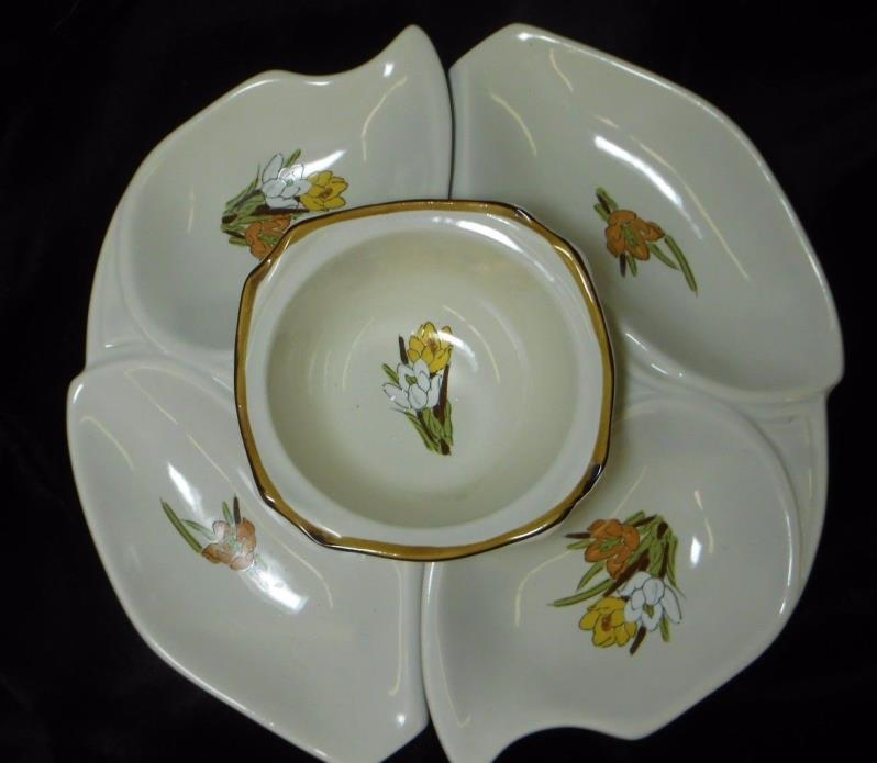 VINTAGE CALIFORNIA ORIGINAL POTTERY WHITE WITH FLORAL LAZY SUSAN 3 PC SET