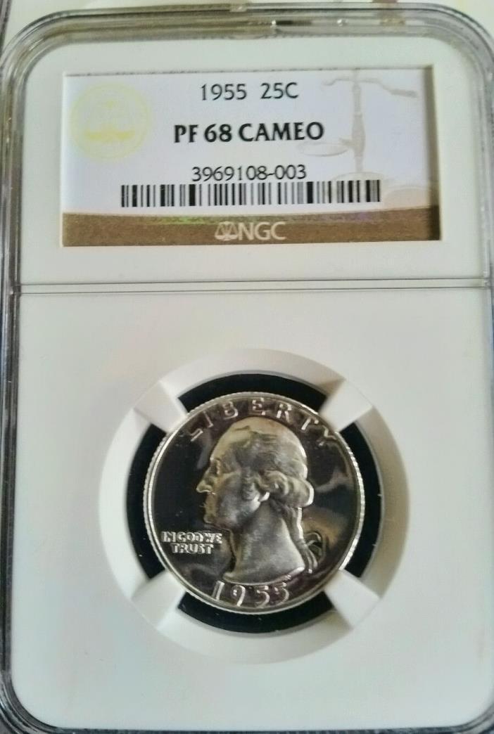 1955 WASHINGTON QUARTER NGC PF 68 CAMEO. A TRULY STUNNING COIN !!
