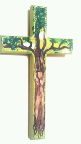 Hand Painted Decorated Wooden Cross. Tree goddess.