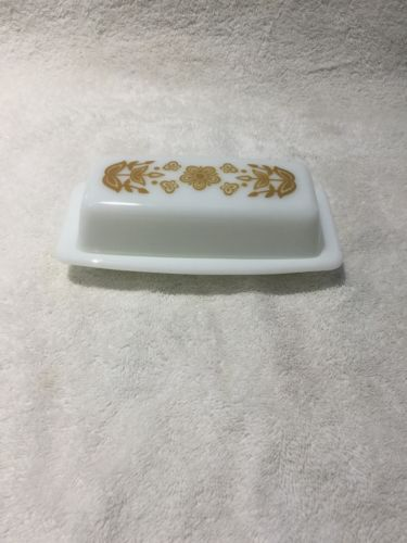 Vintage Pyrex Covered Butter Dish Corning Corelle Butterfly Gold Milk Glass