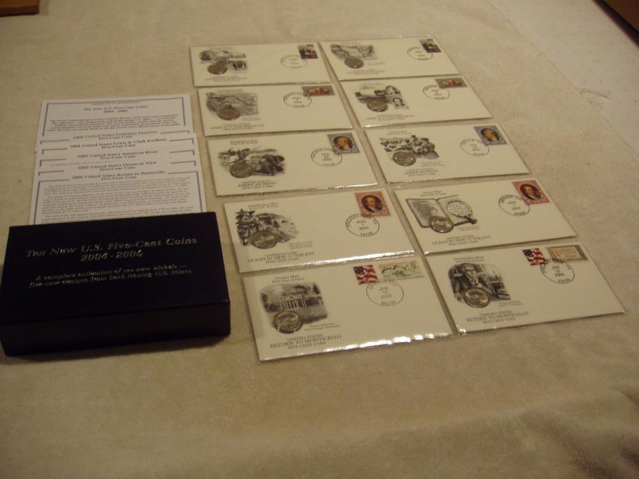 Ten New 2004-2006 US Five-Cent P&D Mint Coins with First Day of Issue Covers