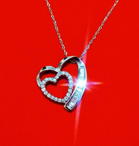 1/4 ct Diamond Heart Necklace 10k White Gold