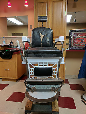 ANTIQUE BERNINGHAUS BARBER CHAIR...DATE OF ASSEMBLY 1/27/1907