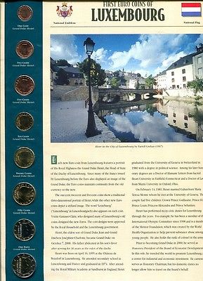 LUXEMBOURG 2002  8 COIN EURO SET WITH DISPLAY CARD BU 8649H