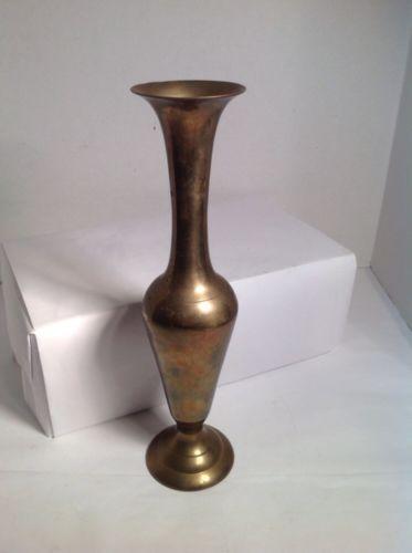 VTG Solid Brass Plain Flute Vase Vintage
