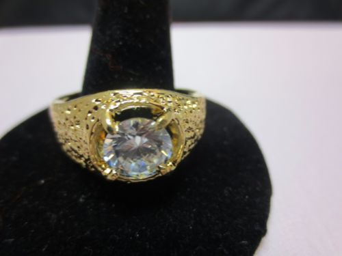 SIZE 12, 14 KT GOLD PLATED MENS RAISED SINGLE STONE CLEAR CZ RING