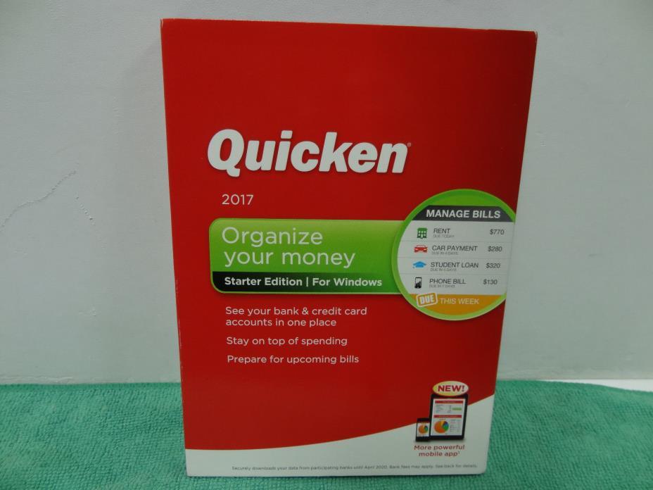 NEW Quicken 2017 Organize Your Money Starter Edition Software For Windows