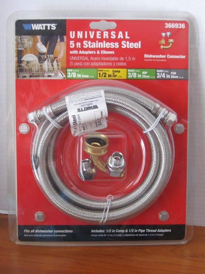 WATTS LD60U 5' Stainless Steel Universal Dishwasher Kit #366936 Adapters &Elbows