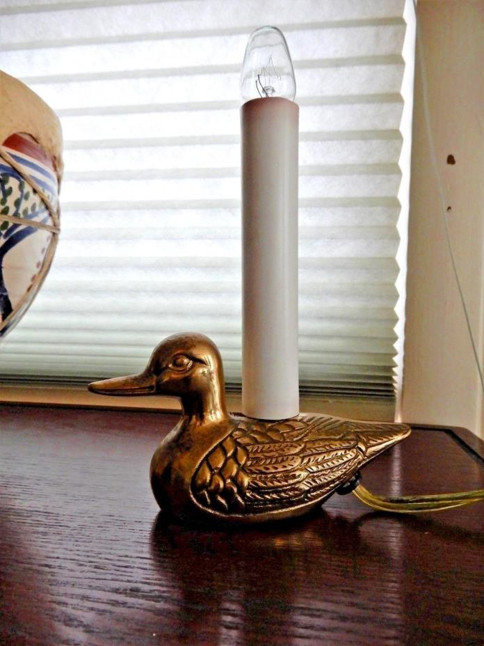 GREAT Vtg Brass Duck Electric Candle Window Light H 7
