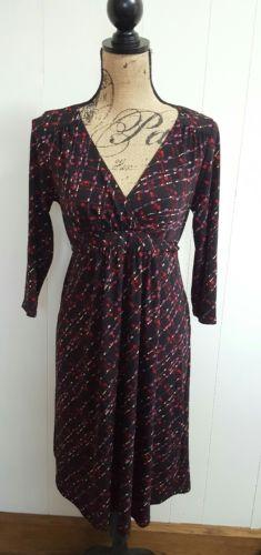 MOTHERHOOD MATERNITY Dress Size Medium Black Red Pink White Stretch 3/4 Sleeves