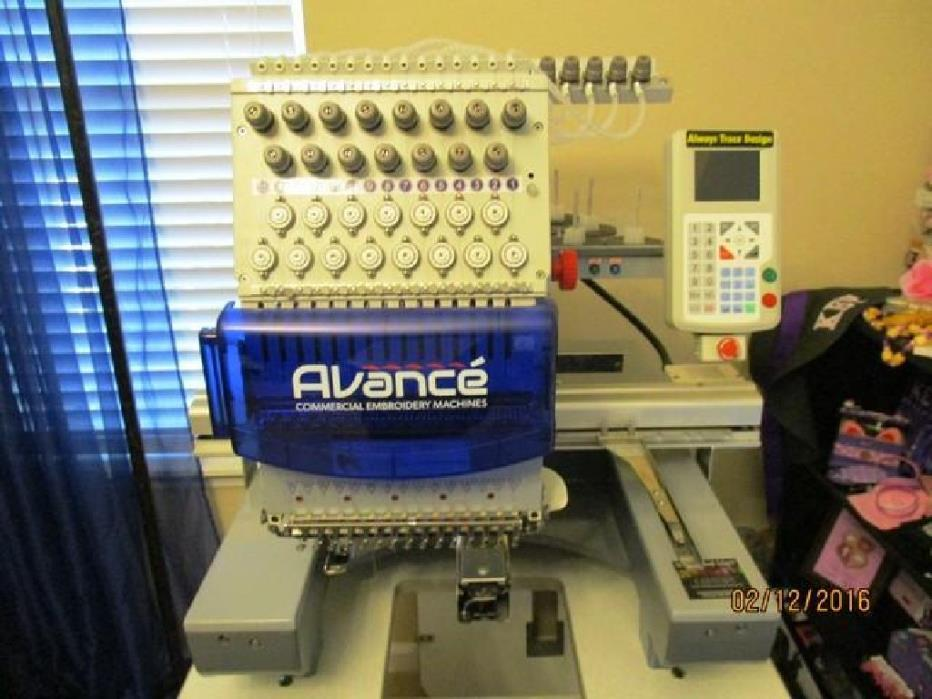 2015 Avance 1501C Embroidery Machine RTR#6113134-02