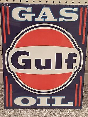 GULF GAS AND OIL EMBOSSED METAL SIGN