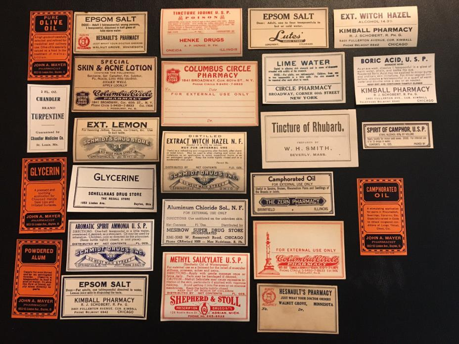 Lot of 25 Vintage Pharmacy Labels (NOS) (1)