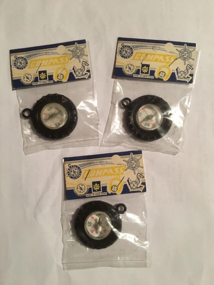 "Original Lot of 3 Toy Compasses in Original Packaging ""NOS"""