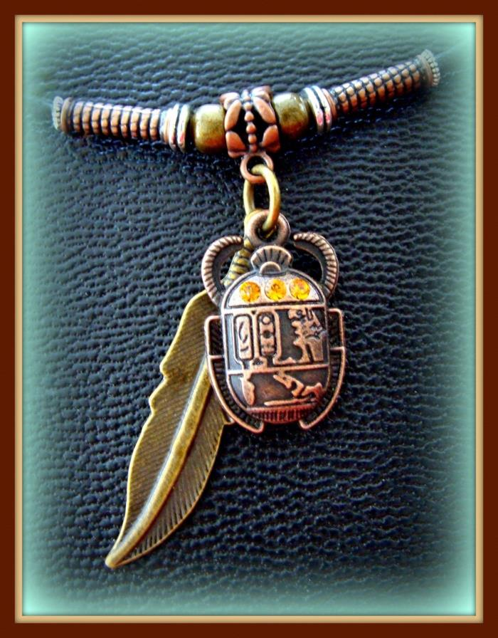 EGYPTIAN Pendant Necklace Jewelry ART DECO Vintage look SCARAB Beetle w/ Feather