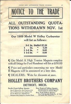 1909 Holley Brothers Carburetor Ad/Detroit MI