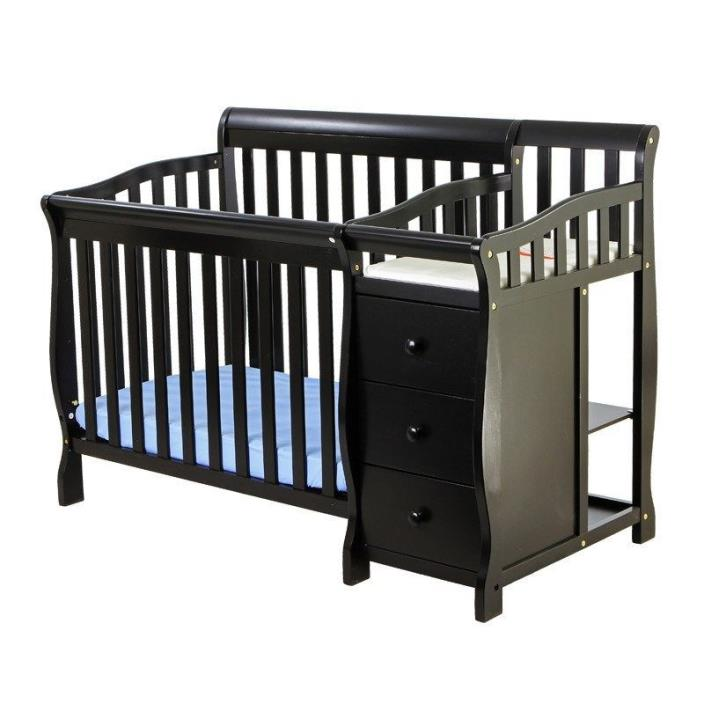 Baby Cribs With Changing Table Mini Convertible 4 in 1 Furniture Jayden Brown
