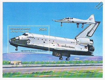 NASA Space Shuttle CHALLENGER & T-38 TALON Aircraft Stamp Sheet (2000 Djibouti)