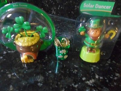Solar Powered Dancing Luck of the Irish Lot of 2 - NIP!