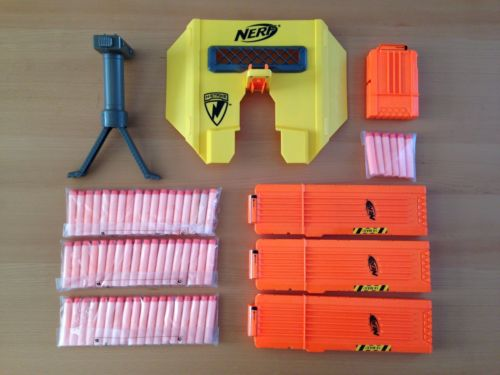 Nerf Accessories Lot Tactical Blast Shield, Bipod, Extended Clips Stampede