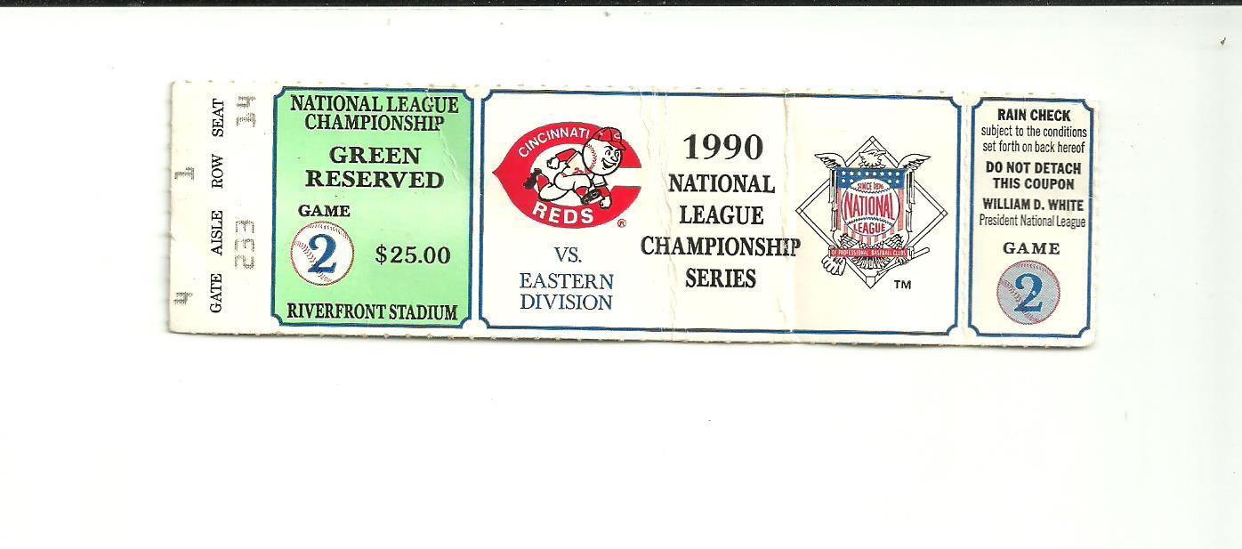1990 NLCS GAME 2 Ticket CINCINNATI REDS vs. PIRATES