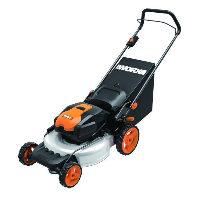 Worx 19 in. 56-Volt Lithium-Ion Walk Behind Cordless Electric Push Lawn Mower