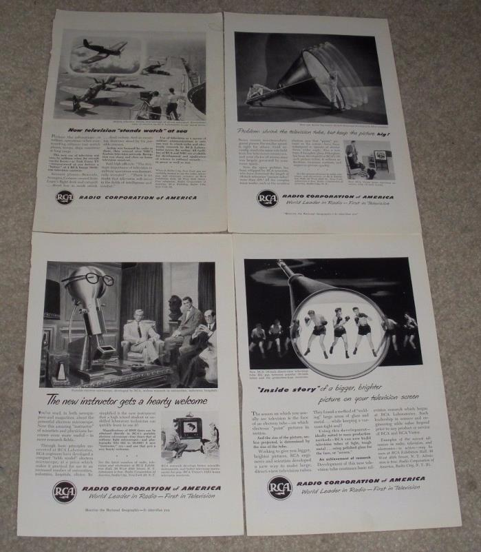 4 Vintage RCA Magazine Advertisement Pages (Circa 1949-1950) TV,Radio