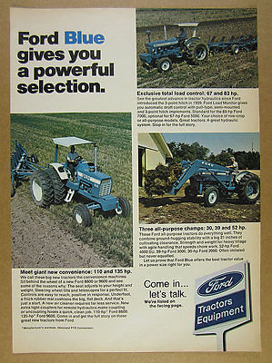 1973 Ford 9600 & 7000 Tractors color photos vintage print Ad