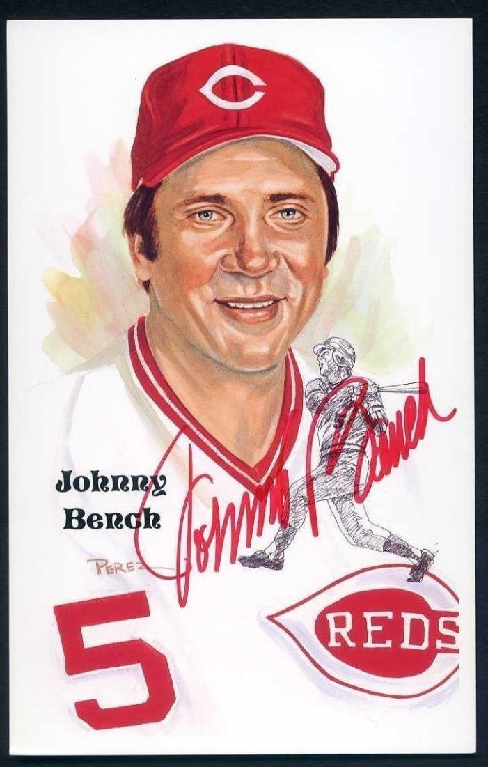 1989 Baseball Perez Steele Signed Johnny Bench Auto Postcard Autograph Reds