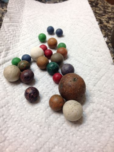 23 clay vintage antique marbles Shooters nice assortment