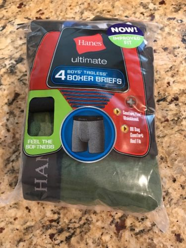 Youth Boy's Hanes Ultimate 4 Pack Tagless Boxer Briefs, Size XL, NWT