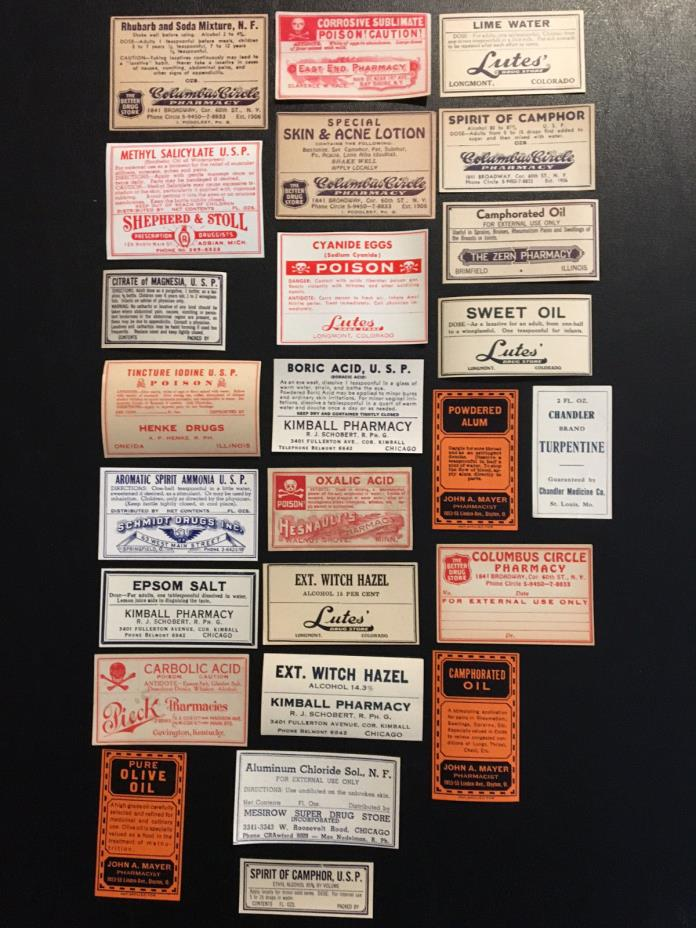 Lot of 25 Vintage Pharmacy Labels (NOS) (2)