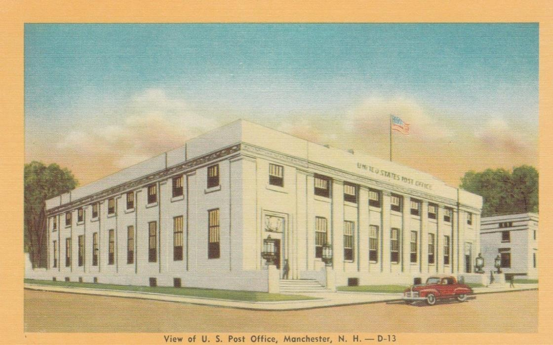 VIEW OF U.S. POST OFFICE, MANCHESTER, N.H.  POSTCARD (4A)