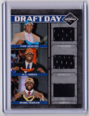 2011 Limited CAM NEWTON, AJ GREEN, Jersey Card /100! USED ON STAGE AT NFL DRAFT!