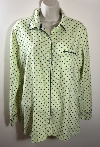 VIctorias Secret Sleep PJs PAJAMA Top Green W Navy Polka Dots Large