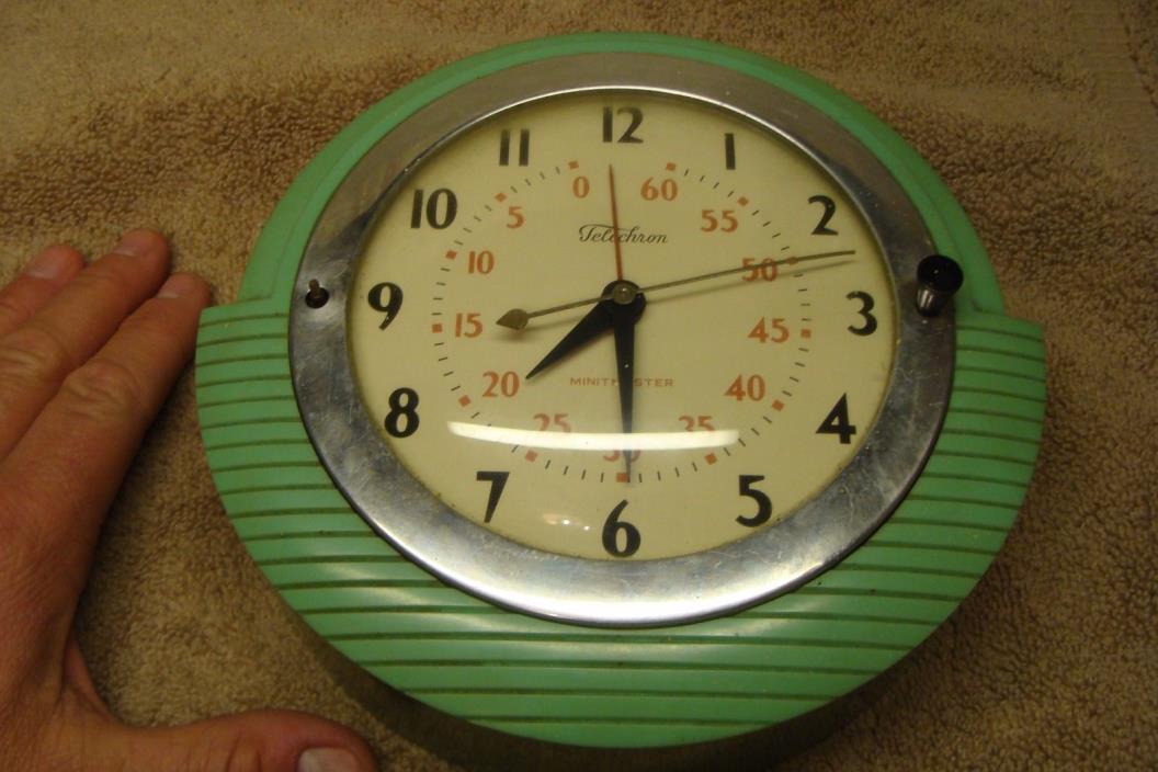 ANTIQUE TELECHRON GREEN MINITMASTER KITCHEN CLOCK TIMER VINTAGE ART DECO 2H17