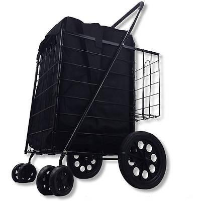 FoldingShoppingCartDoubleBasketEasyRotation360-DegreeJumbo Swivel Wheelspusheady
