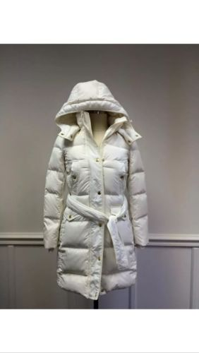 NWT J CREW LONG BELTED DOWN PUFFER COAT Medium  $298 IN IVORY CREAM WHITE