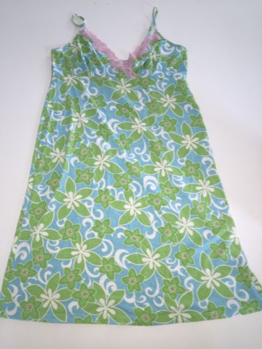 motherhood bright green NURSING wear Blue Floral Pink Lace Gown Sleep v neck M