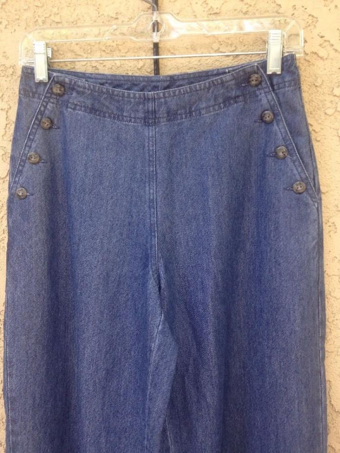 J. Jill ladies denim jean Pants size 4 wide relaxed leg Side Button Closure