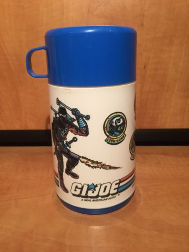 VINTAGE 1989 HASBRO G.I. JOE ARAH PLASTIC THERMOS W/ BLUE CAP/CUP & SIP TOP