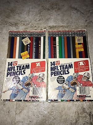 NFL Team Pencils from 1980's (FaberCastell) AFC/NFC Sets Brand New