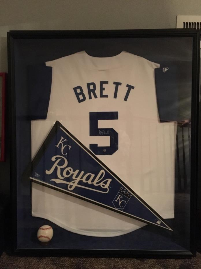 George Brett Framed Autographed Jersey and Baseball
